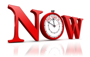 now red word and clock. clipping path included